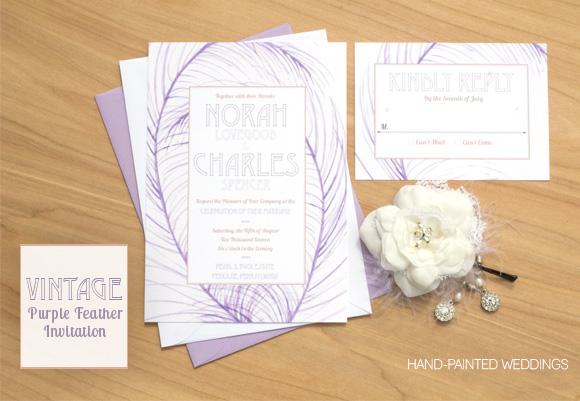 Vintage Purple Feather Invitation