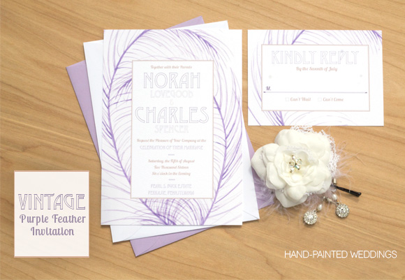 Vintage Purple Feather Invitation