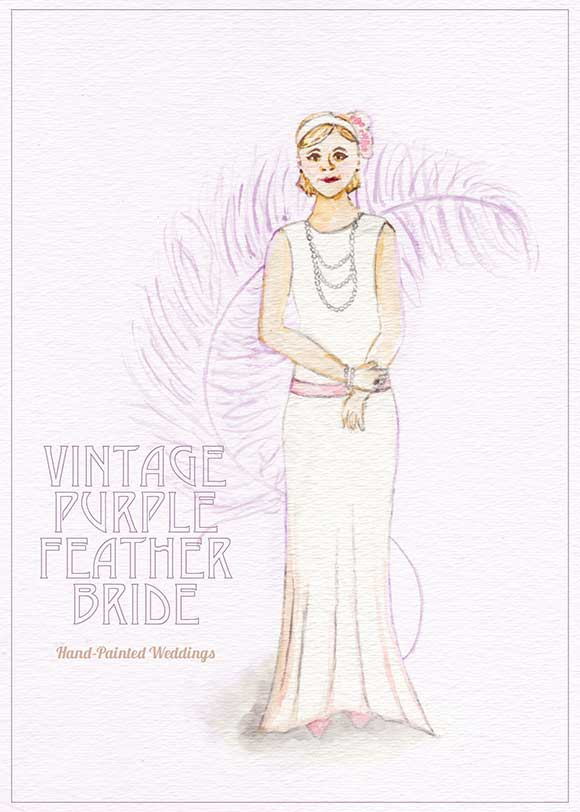 Vintage Purple Feather Bride painted by Hand-Painted Weddings