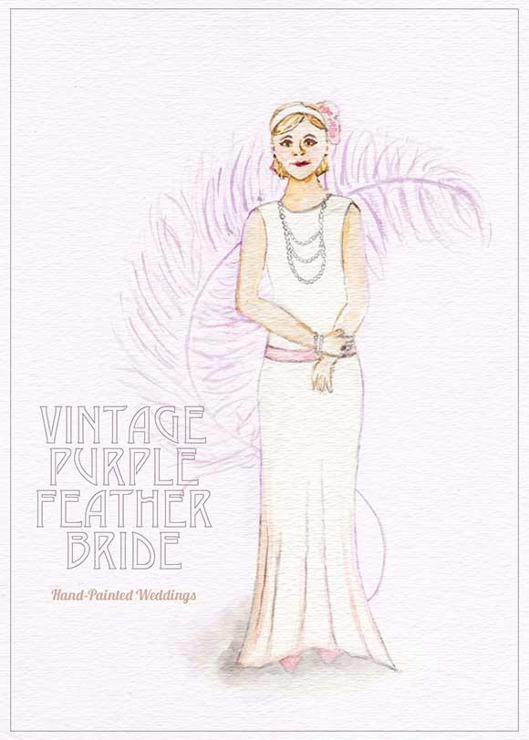 Vintage Purple Feather Bride Portrait