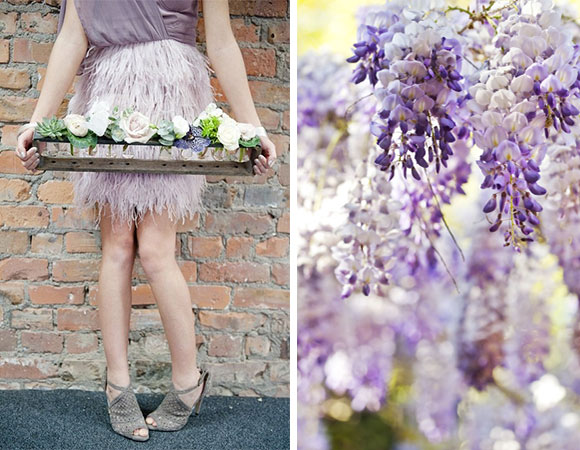 Vintage Purple Feather Wedding inspiration board curated by Hand-Painted Weddings