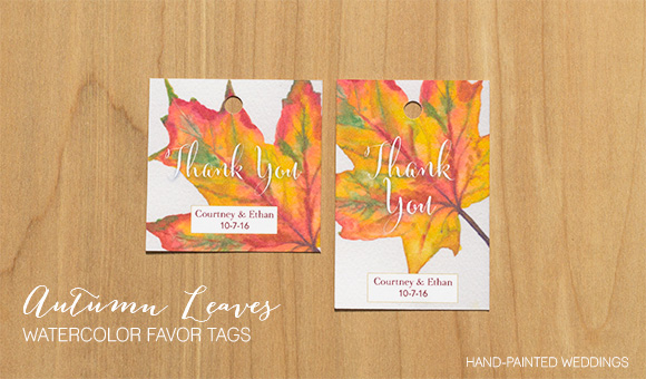 Autumn Leaves Watercolor favor tags by Hand-Painted Weddings