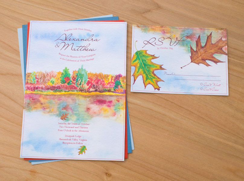 Autumn Reflections invitation hand picked for 50 Fall Wedding invitations list