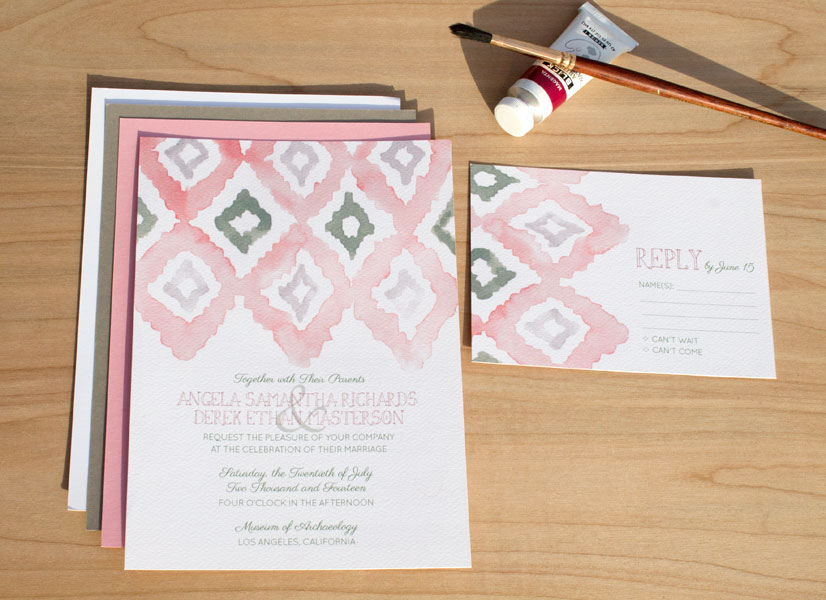 In the Studio: Hand-Painted Ikat Invitation