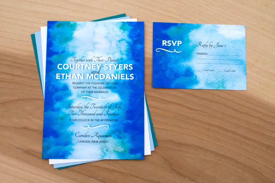 Hand-Painted Water Ripples Invitation
