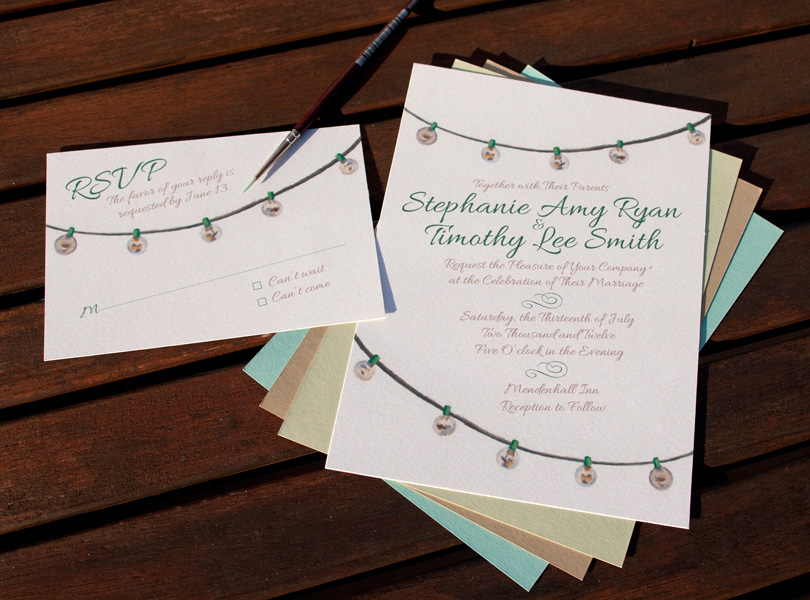 Hand-Painted Invitation: String Lights