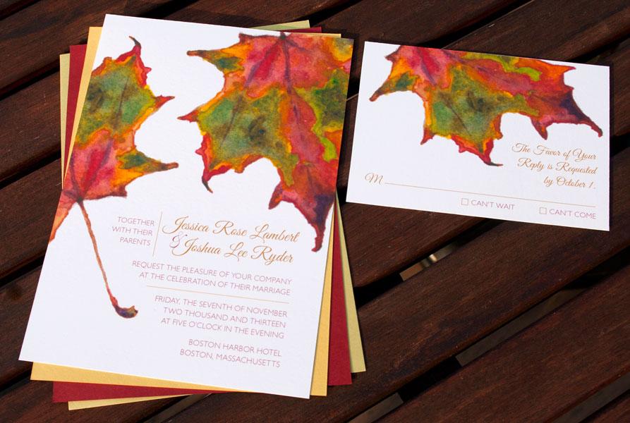 Hand-Painted Invitation: Autumn Leaves