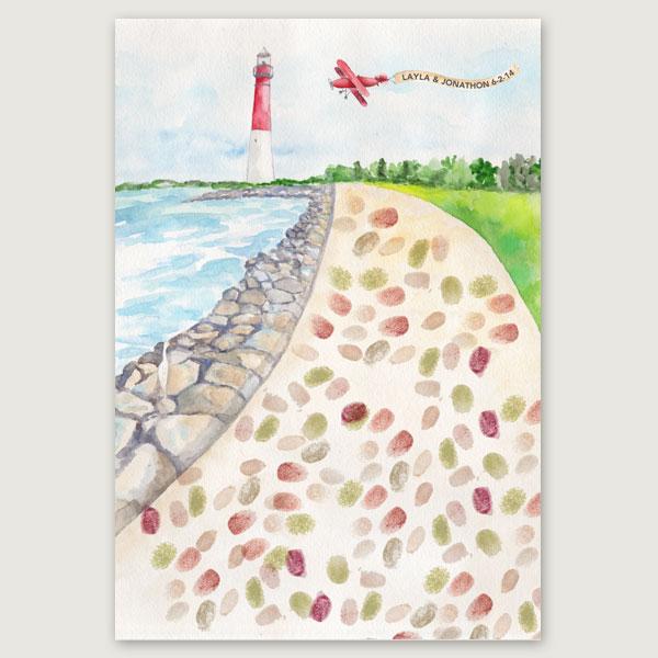Lighthouse Thumbprint Guest Print