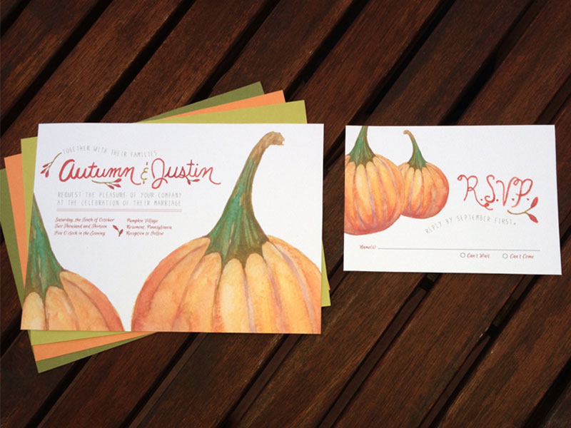 Hand-Painted Pumpkin Invitations
