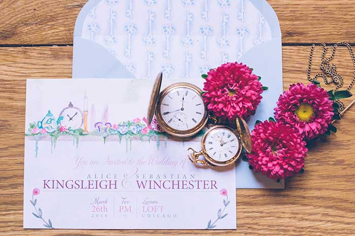 Alice in Wonderland Wedding Invitation by Hand-Painted Weddings. Photo by Ed & Aileen Photography
