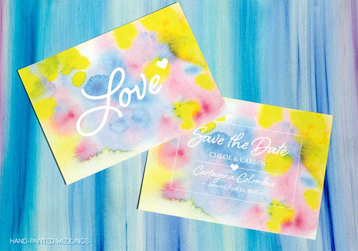 Cartagena Watercolor Save-the-Date by Hand-Painted Weddings