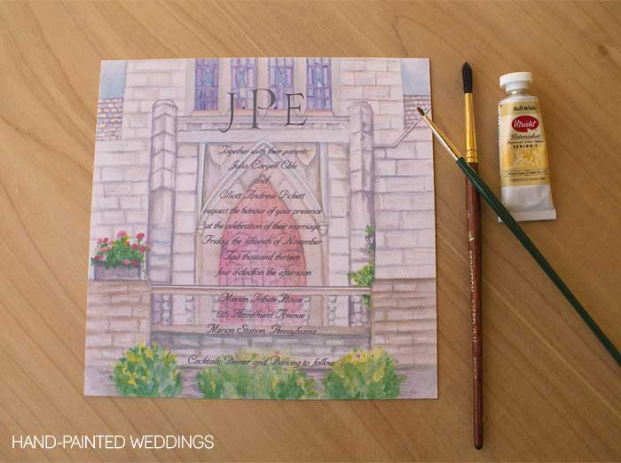 Commissioned Watercolor gift painting the Merion Tribute House