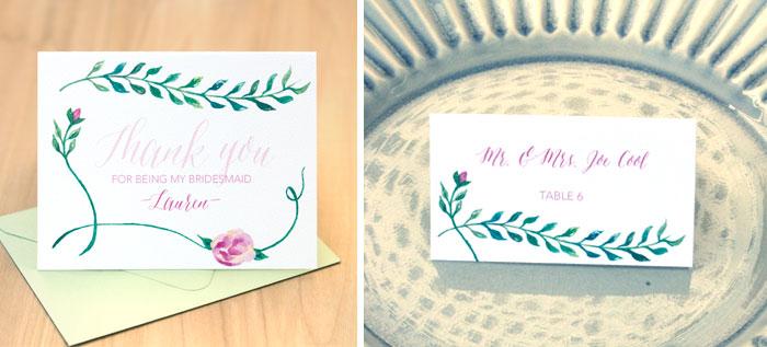 Philly wedding bridesmaid card and escort card