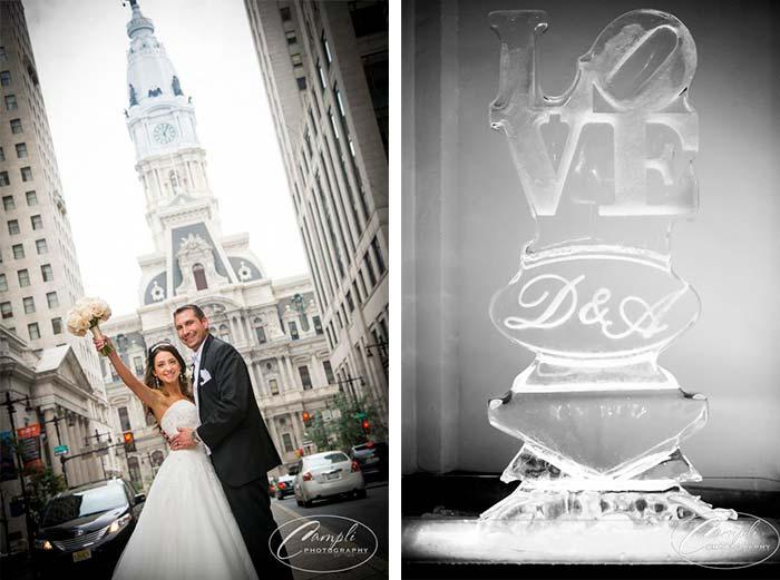 Philly wedding LOVE ice sculpture