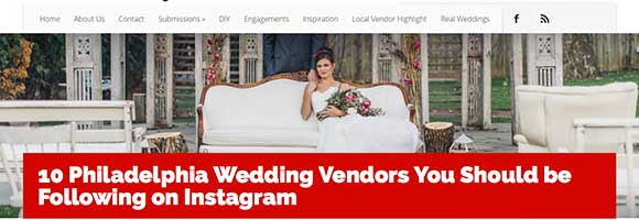 Named 1 of 10 Philadelphia Wedding Vendors You Should be Following on Instagram by Philly in Love