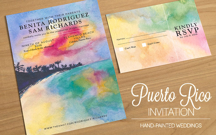 Puerto Rico Wedding Invitation by Hand-Painted Weddings