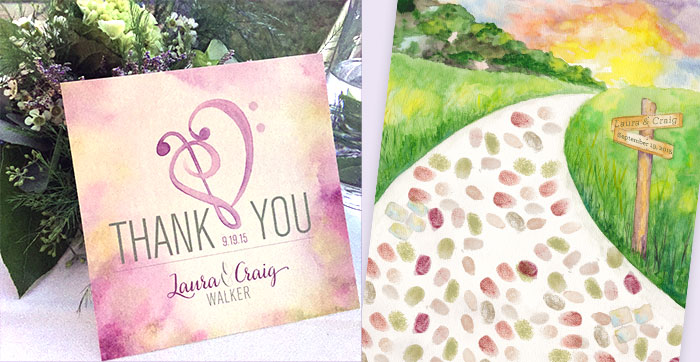 Country Backyard Wedding Thank you and cobblestone thumbprint guestbook by Hand-Painted Weddings