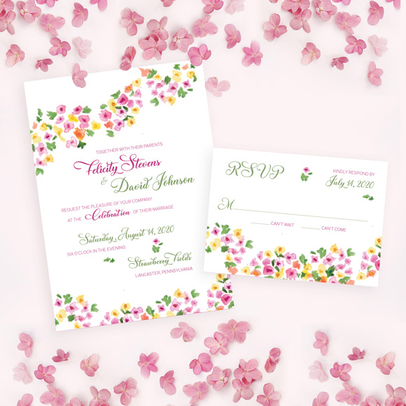 Hippie wedding invitation