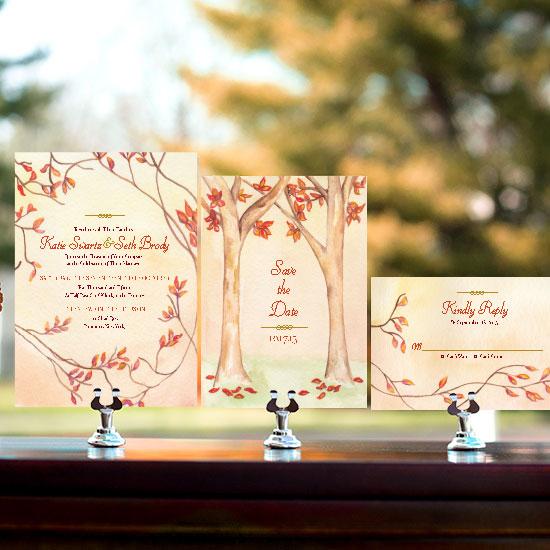 Autumn Leaf Border Wedding Invitation