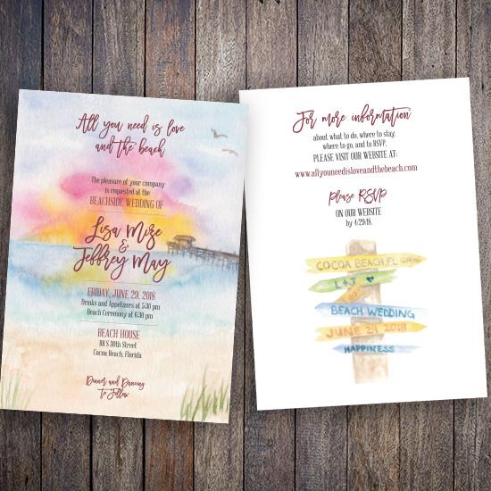 Cocoa Beach Wedding Invitation