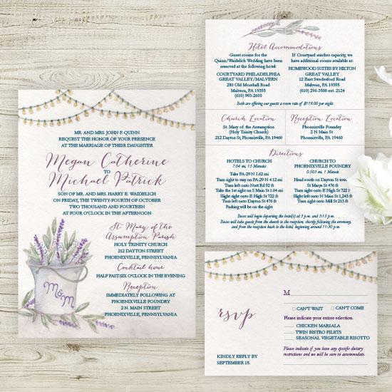 Rustic Lavender Wedding Invitation