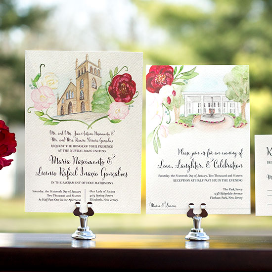 Illustrated Church and Park Savoy Wedding Invitation Suite