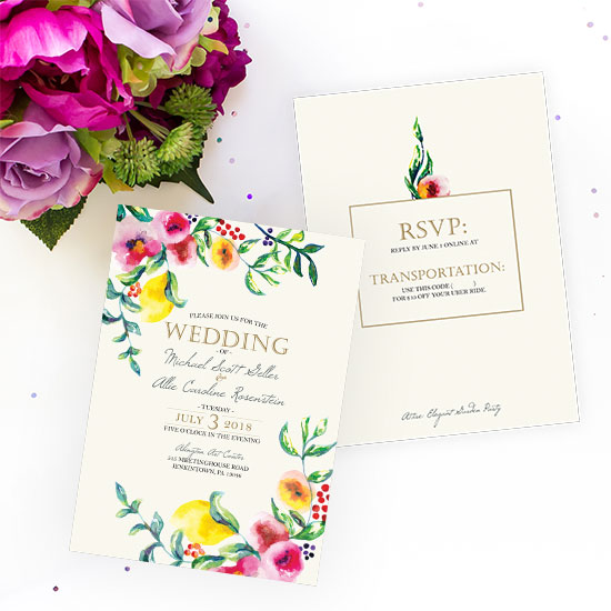 Bouquet of Lemons and Colorful Florals Wedding Invitation