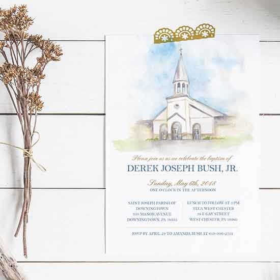 Baptism Invitation featuring a Watercolor of the Church