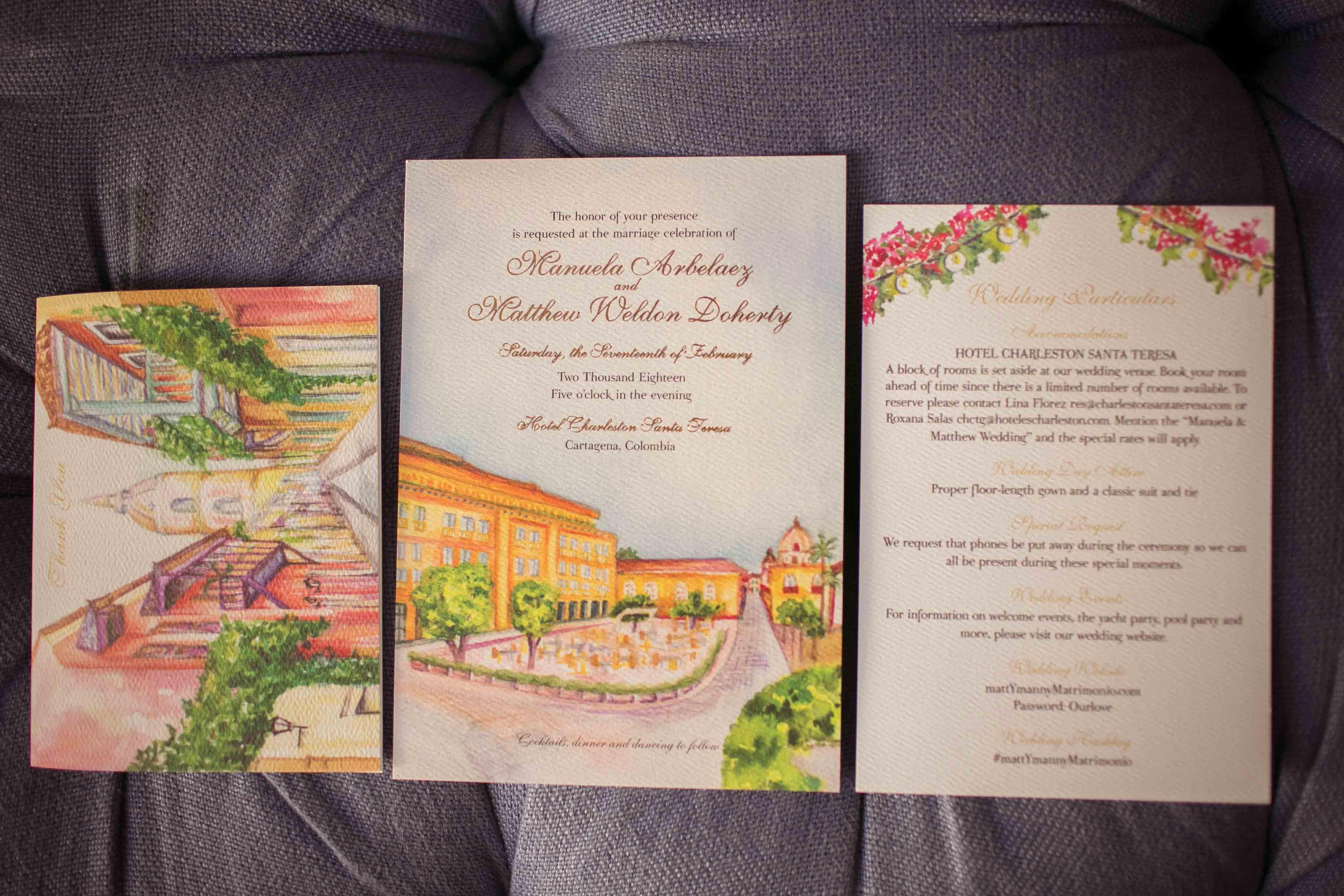 Watercolor Cartagena Wedding Invitation