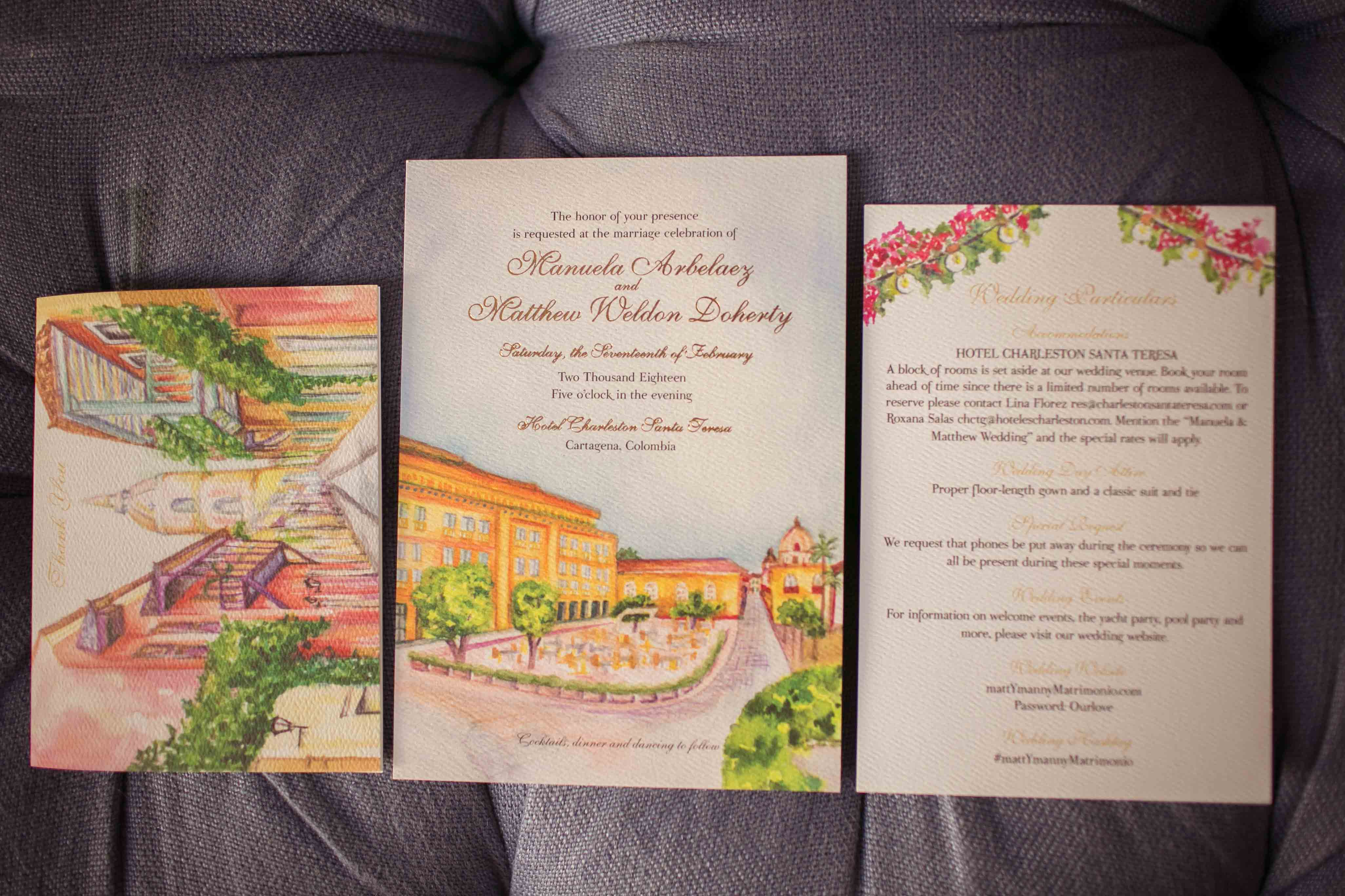 Watercolor Cartagena Wedding Invitation