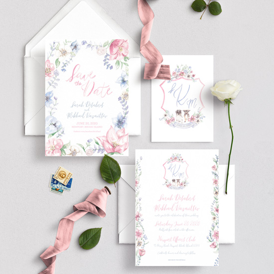 Elegant pink and blue floral watercolor invitation