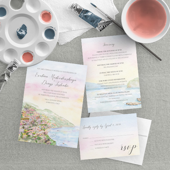 Sorrento Italy and the Amalfi Coast Watercolor Wedding Invitation
