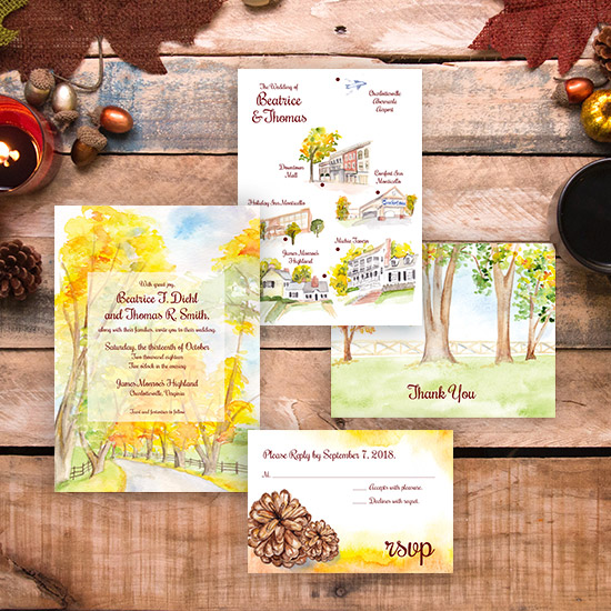 Autumn Woods Watercolor Wedding Invitation