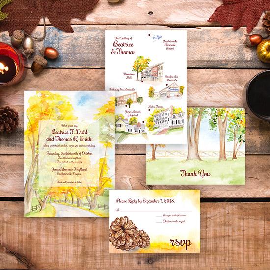 Autumn Woods Watercolor Wedding Invitation
