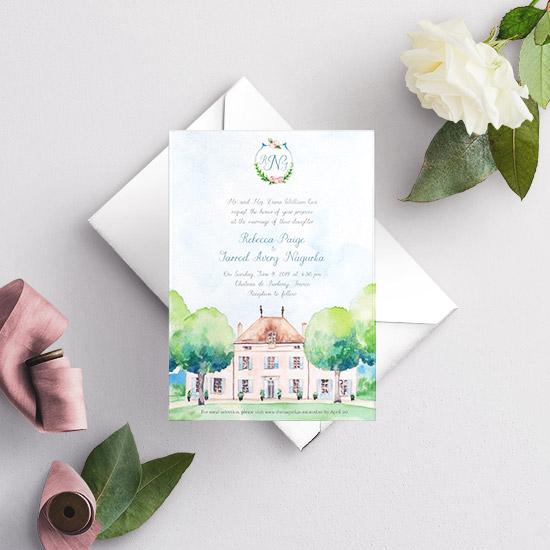 Chateau de Barbirey France Wedding Invitation