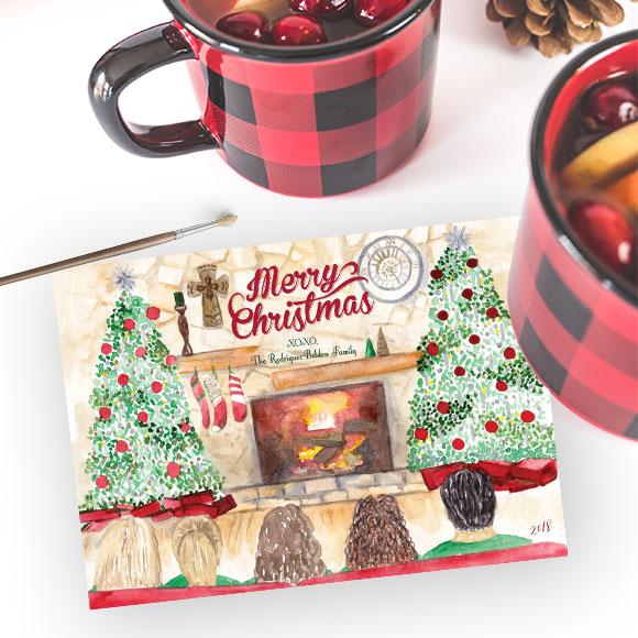 Custom Watercolor Family Christmas Card