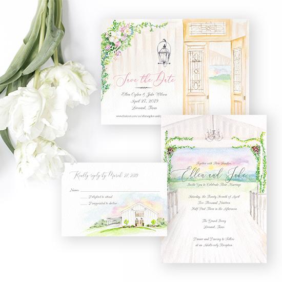 Grand Ivory Wedding in Texas Invitation