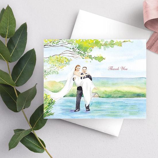 Lakehouse Wedding Couple Watercolor Thank You Card