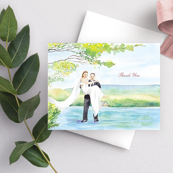 Lakehouse Wedding Couple Watercolor Thank You Card