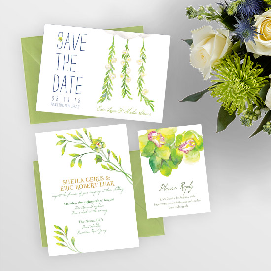 Lime Green Orchids for a Summer Wedding Invitation