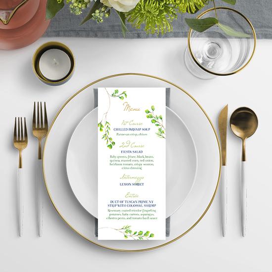 Lime Green Watercolor Wedding Menu