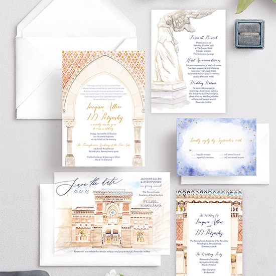 PAFA Art Gallery Watercolor Wedding Invitation