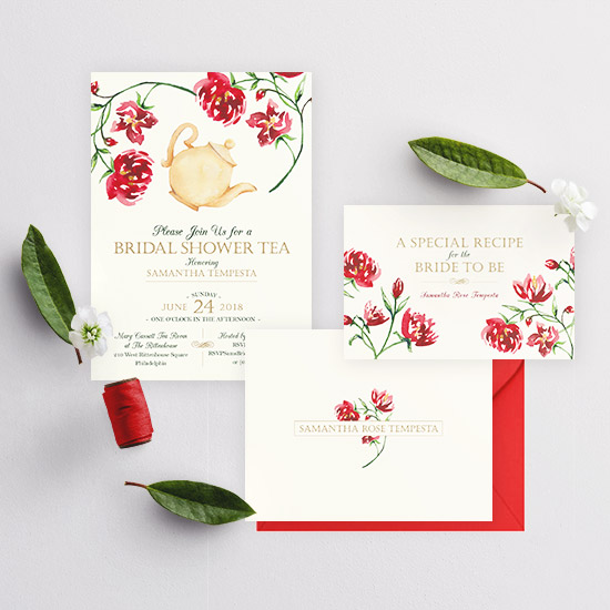 Tea Party Watercolor Bridal Shower Invitation