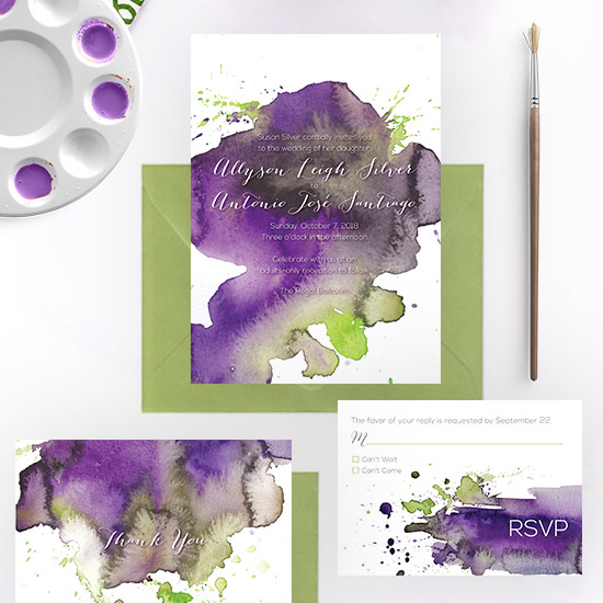 Watercolor Splash Modern Wedding Invitation