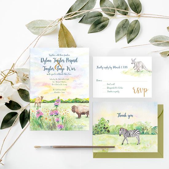 Zoo Wedding Watercolor Invitation Set