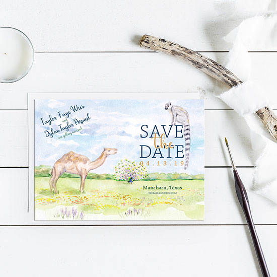 Zoo Wedding Watercolor Save-the-Date