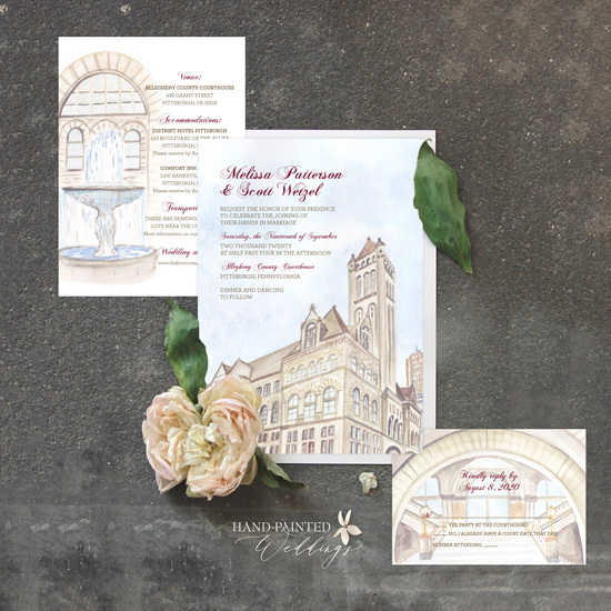 Allegheny County Courthouse Wedding invitation