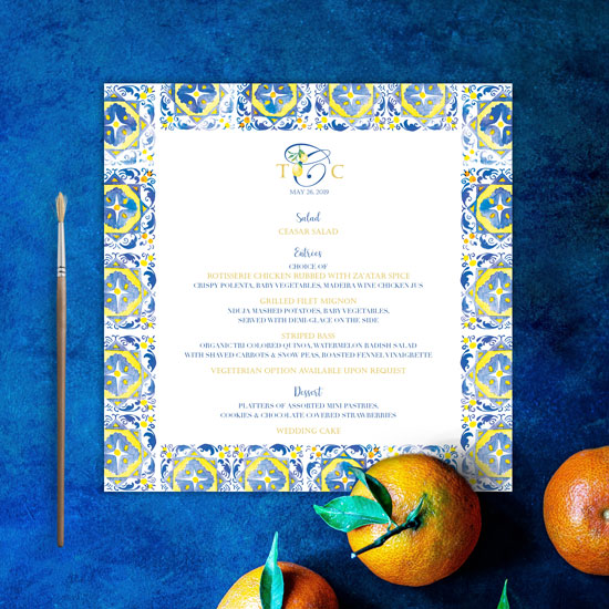 Mediterranean Tile Italy Inspired Wedding Menu