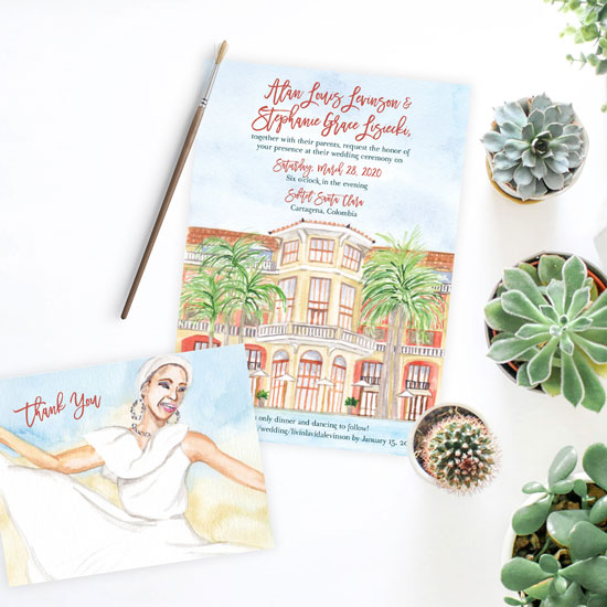 Cartagena Sofitel Santa Clara Wedding Invitation