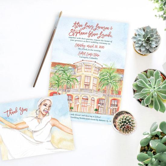 Cartagena Sofitel Santa Clara Wedding Invitation